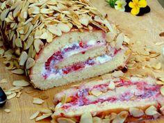 Low fat sponge roll with yogurt and raspberries filling