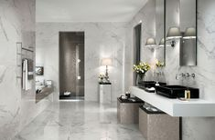 A range of light marble look porcelain and ceramic floor and wall tiles suitable for all applications. Tile Floor Diy, Bathroom Floor Tiles, Bathroom Colors, Wall Tiles, European Kitchen Cabinets, Parisian Bathroom, Bad Styling, Bathroom Design Luxury, Bathroom Styling