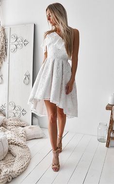A-Line One Shoulder High Low White Lace Prom Homecoming Dress with Ruffles white lace high low prom party dresses for teens, modest one shoulder homecoming dress,semi formal dress for grade Homecoming Dresses High Low, A Line Prom Dresses, Dance Dresses, Boho Homecoming Dress, Semi Formal Dresses For Teens, Short Prom, Dress Formal, Lace Party Dresses, Lace Dress
