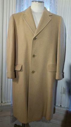 Vintage Filene's 100% Camel Hair Long Overcoat Topcoat Fancy Stiching jacket M L #Filenes #Overcoat