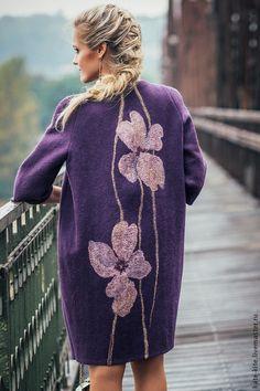 Купить Валяное пальто-кокон с шелковыми цветами - тёмно-фиолетовый, пальто, войлочное, войлок, женское