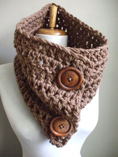 Super Chunky Cozy Crochet Cowl NeckWarmer Scarflette Scarf Cowl TAUPE / LT BROWN Unisex Men Women Ready to Ship. $22.00, via Etsy.