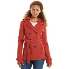Women's Sebby Hooded Fleece Peacoat ($50) ❤ liked on Polyvore featuring outerwear, coats, burnt orange, pea jacket, fleece lined coat, red pea coat, pea coat and hooded pea coat