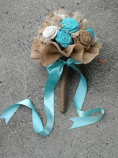 Rustic Aqua and Natural Burlap Bouquet by KrisCraftyCreations, $75.00