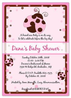 Ladybug Pink Baby Shower Invitations