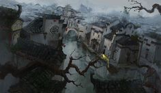 Wang Rui Concept Art and Illustration Concept Art World, Environment Concept Art, Environment Design, Fantasy Places, Fantasy World, Matte Painting, Illustration Story, Illustrations, Fantasy Castle