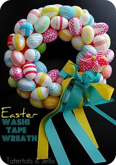 So bright and cheerful for Easter.  If you don't have washi tape, you could try using ribbons, or paper, and a spray adhesive.  Plastic eggs available at most craft stores or online!  Remember the generous ribbons and the cute pinwheel to finish it off :)