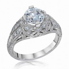 """""""The Dragonfly"""" is made in 18k white gold. Die-Struck Vintage Filigree (Antique Style) Lincoln Drape Engagement Ring with Dragonfly Detailing. #imagesjewelers #engagementring #diamond #vintage"""