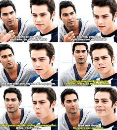 "Dylan O'Brien and Tyler Hoechlin ""What would you like to happen during an apocalypse?"" - these two dorks are perfect for each other #sterek Teen Wolf"