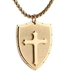 "HZMAN Shield Armor of God Ephesians 6:16-17, Faith Cross Stainless Steel Pendant Necklace  Faith: Being a Man of God is a High Calling that Christian Men Should Aspire For.  Metal: Stainless Steel is robust and will not tarnish or rust easily, it is easy to maitain and ideal for long-lasting jewelry designs  Come with 24 Inches High Quality Durable Stainless Steel Link Chain  Pendant size(Approx):4.0 x 3.0cm / 1.57"" x 1.2""  Including a beautiful gift box printed with Brand Name ""HZMAN""..."
