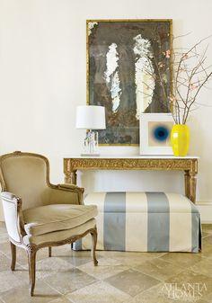 striped skirted ottoman