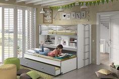 Bonny hoogslaper met 3 slaapplaatsen - New Ideas Interior Modern, Bunk Beds, Kids Room, Furniture, Home Decor, Bedroom Ideas, Walls, Products, Baby Room Girls