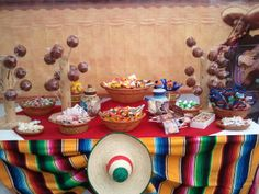 Candy table for Mexican fiesta theme wedding Mexican Candy Table, Mexican Party Decorations, Mexican Fiesta Party, Fiesta Theme Party, Mexico Party, Mexican Birthday Parties, 50th Party, Snacks Für Party, Thinking Day