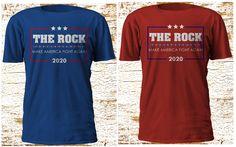 New dwayne The Rock For President 2020 Make America Fight Again johnson Red Blue #Gildan #GraphicTee
