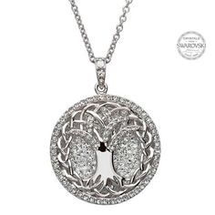 Tree Of Life Pendant Encrusted With White Swarovski Crystals