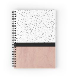 Pink marble and dots spiral notebook by arrbyjwp on redbubble #notebook #spiral…