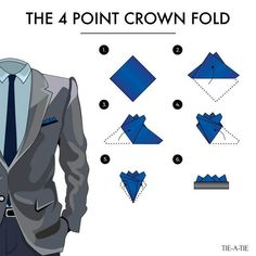 Fold your pocket squares with the crown fold. A classic way to wear your pocket squares! Fold your pocket squares with the crown fold. A classic way to wear your pocket squares! Pocket Square Folds, Pocket Square Guide, Pocket Square Styles, Pocket Squares, Mens Fashion Suits, Mens Suits, Grey Suits, Pliage Pochette Costume, Tie A Necktie