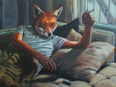 I came across the paintings of Toronto artist, Richard Ahnert and I was blown away. His work is witty and warm, satirical and accessible. Fantasy City, Dark Fantasy Art, Alien Creatures, Fantasy Creatures, Character Art, Character Design, Fox Pictures, Fantastic Mr Fox, Anthro Furry