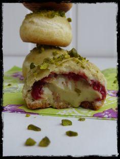 Pistachio cream and raspberry jam petits choux