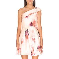 Keepsake the Label Floral Print One Shoulder Minidress (890 MYR) ❤ liked on Polyvore featuring dresses, light faded floral, short pink dress, mini party dress, night out dresses, going out dresses and one shoulder short dress