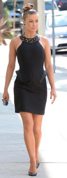 56cbe44ee4df Carmen Electra: Dress – Halston Heritage Sunglasses – Chanel Shoes –  Christian Louboutin Black Dress