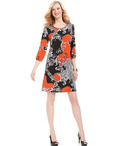 NY Collection Dress, Three-Quarter-Sleeve Status-Print Shift - Womens Dresses - Macy's