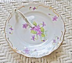 Plate Serving with Handle Violets Vintage by HerbgirlAndVintage