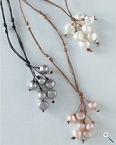 Fringe pearl necklaces. This would be easy to make. by Anita Marie ROyvn