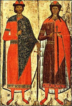 St. Boris and St. Gleb. 14th C. Russian State Museum.