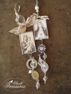 great way to use old rosaries with religious art