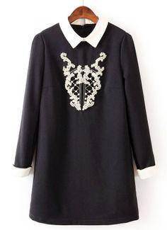 Black Contrast Collar Long Sleeve Bead Loose Dress US$35.74