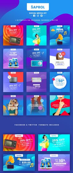 Saprol Social Media Kit a handy tool that would turn your artwork into engaging promo images for social media. Create stunning posts in a few clicks and stand out with ease using social media templates! Saprol includes 12 unique social media templates in three different sizes, for a total of 36 Photoshop templates designed for Facebook, Twitter & Instagram.