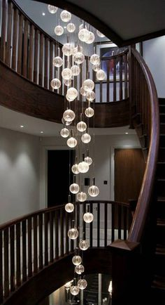 Modern Stairwell Led Chandelier Lighting Large Bubble