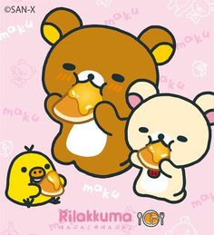 #Rilakkuma enjoying pancakes (^O^)