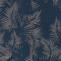 Bomull mørk blå m grå abstrakte blader
