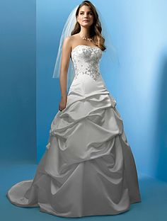 Alfred Angelo wedding dress, Style 1186              Satin Strapless Dress, Corset Back, Sizes 8-32 I love the top and this type of skirt, but not this specific one.