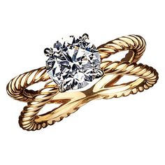 David Yurman engagement ring: love the twisted band design, accentuates the diamond....upgrade!!! MY FAVORITE DIAMOND RING!