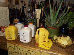 esposizione di bevande di aloe vera per assaggi e aperitivi