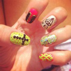 Cross and Diamond   Mix and Match #nails #nailart