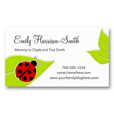 Ladybug Play Date Cards, Horizontal Business Cards