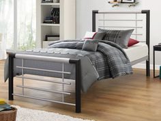 Birlea Faro Single Black and Silver Metal Bed Frame