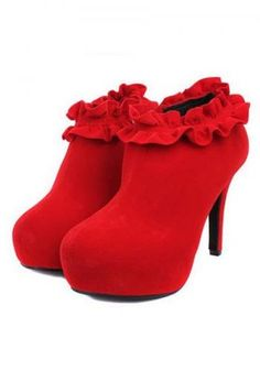 red suede ankle boots