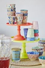 RICE cake stands, cups and bowls at Pinks & Green