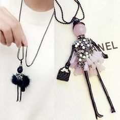 Handmade Dress Crystal Piece Sequins Girl Doll Pendants Long Necklace Sweater Chain collier Women Accessories #handshops #handmade #jewelry