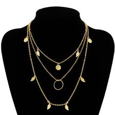 Gold Plated Layered Leaf and Artificial Crystal Necklace from mobile - US$3.95 -YOINS