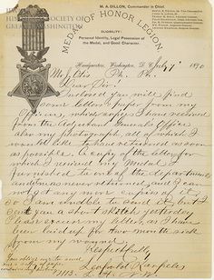 During the Civil War, Leopold Karpeles was awarded the Congressional Medal of Honor for rallying the troops during the Battle of the Wilderness in Virginia.  In 1890, on the stationary of the newly formed Medal of Honor Legion, he wrote a letter concerning his military pension.