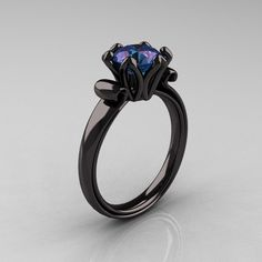 Antique 14K Black Gold 1.5 CT Chrysoberyl Alexandrite Engagement Ring AR127-14KBGAL