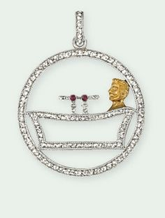 AN EARLY 20TH CENTURY DIAMOND PENDANT, BY CARTIER  Designed as an openwork rose-cut diamond circle depicting a gentleman in a bath tub with ruby collet tap detail, circa 1905, 2.5 cm wide
