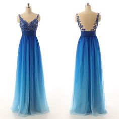 Charming O-Neck Prom Dresses,Noble Prom Dresses,Chiffon Prom Dresses,Gradient Color Evening Dresses,See Through Backless Prom Dresses