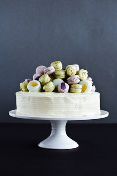 Beautiful - White cake with champagne and macarons.